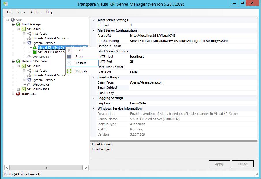 Alert Server Restart