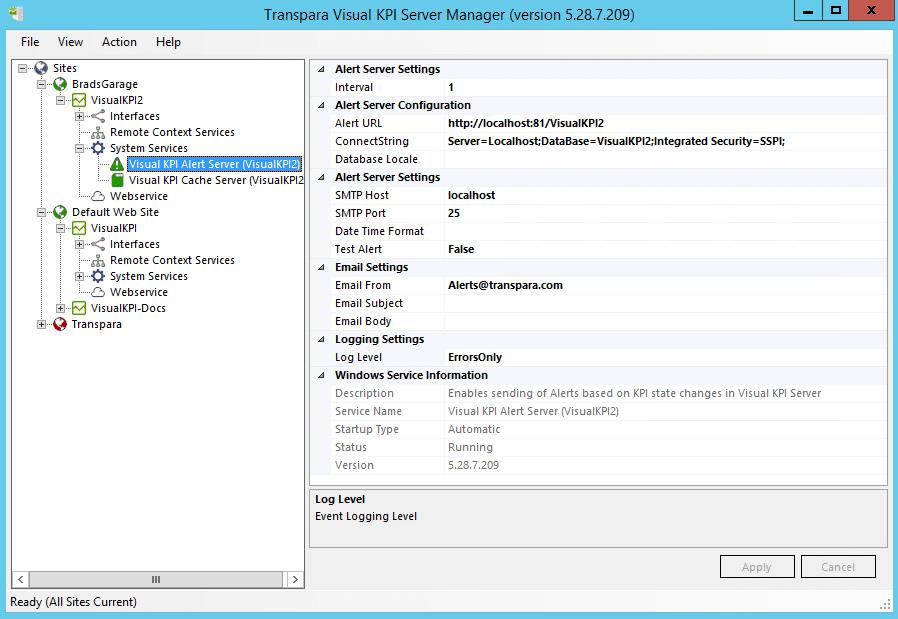 Alert Server Settings