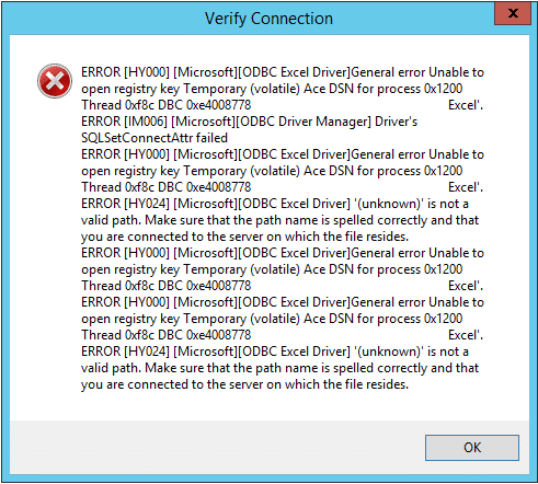 verify microsoft excel interface connection