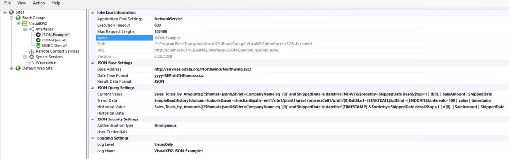 configure JSON interface