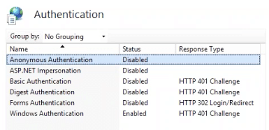 enable security in IIS