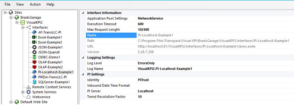 configure PI interface