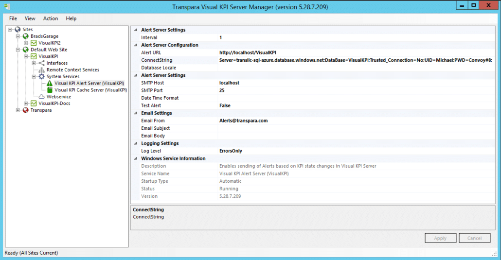 Server Manager - Visual KPI Services - Alert Server Service
