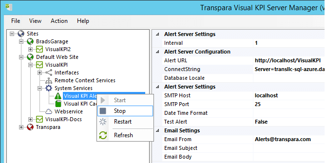 Server Manager Control Service to Start, Stop, or Pause