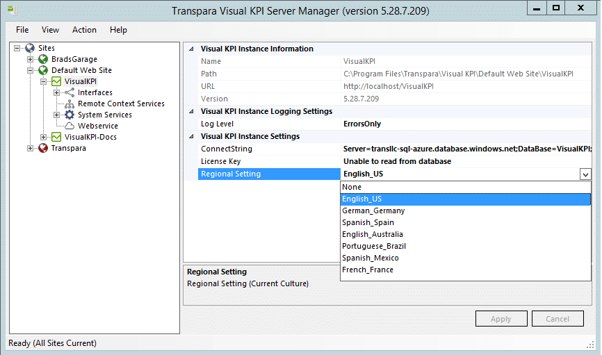 Server Manager Instance Regional Settings