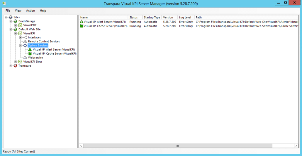 Server Manager - Visual KPI Services