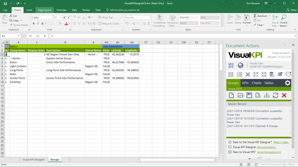 Visual KPI Designer Microsoft Excel add-in to configure and edit data for your Visual KPI sites.