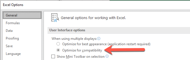 excel options optimize