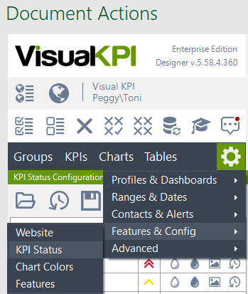 Visual KPI sitewide settings KPI status
