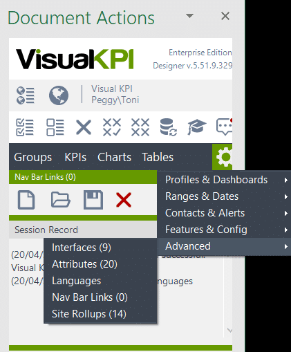 add links to Visual KPI nav bar