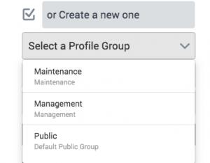 select a profile group to create a profile