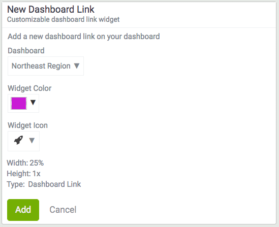 add a dashboard link widget