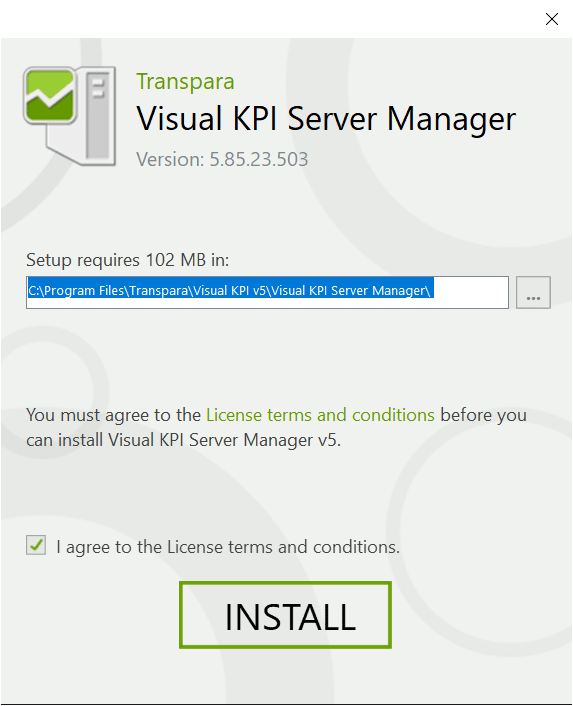 Install Visual KPI Server Manager