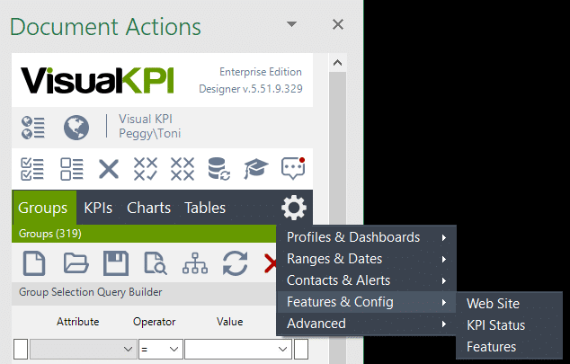 Visual KPI Designer sitewide settings