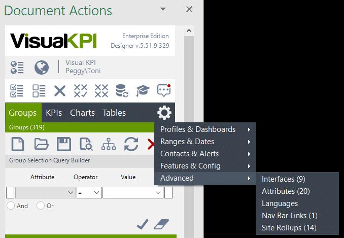 Visual KPI Designer sitewide settings