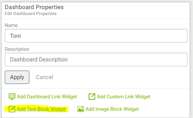 add text block widget