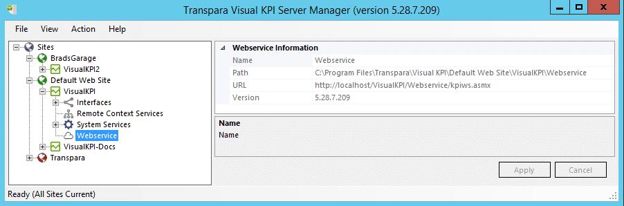 WebServices Information - Visual KPI website folder