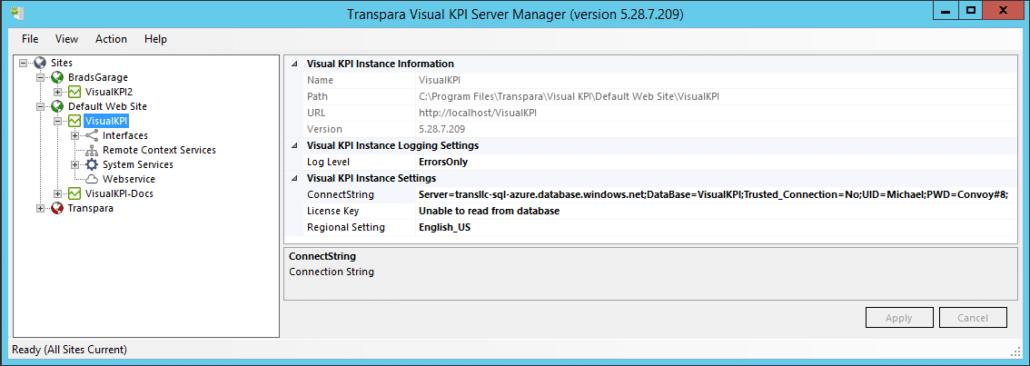 Web Site Configuration Information - Visual KPI website folder