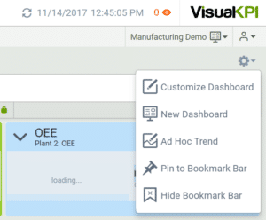 Use Visual KPI options icon to add objects to your dashboard, add an ad hoc trend, pin objects to the Bookmark Bar or Hide the Bookmark bar.