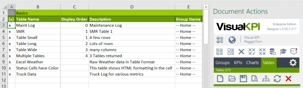 create and configure tables